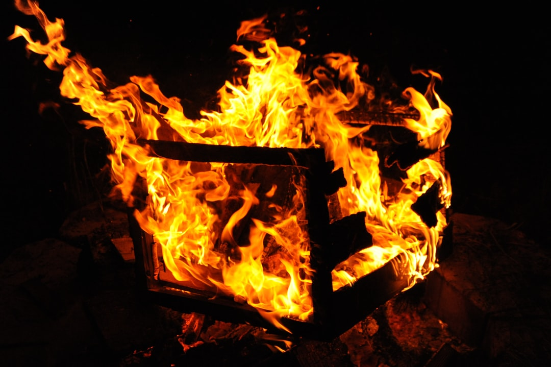 Flames consume a box, fire, night, Broadview, Seattle, Washington, USA