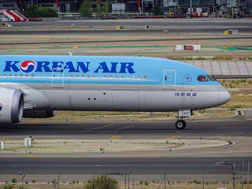 blue and white Korean Air passenger plane