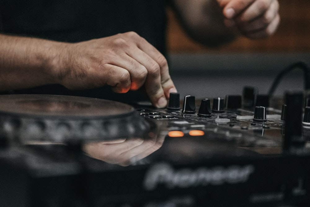 black Pioneer DJ turntable
