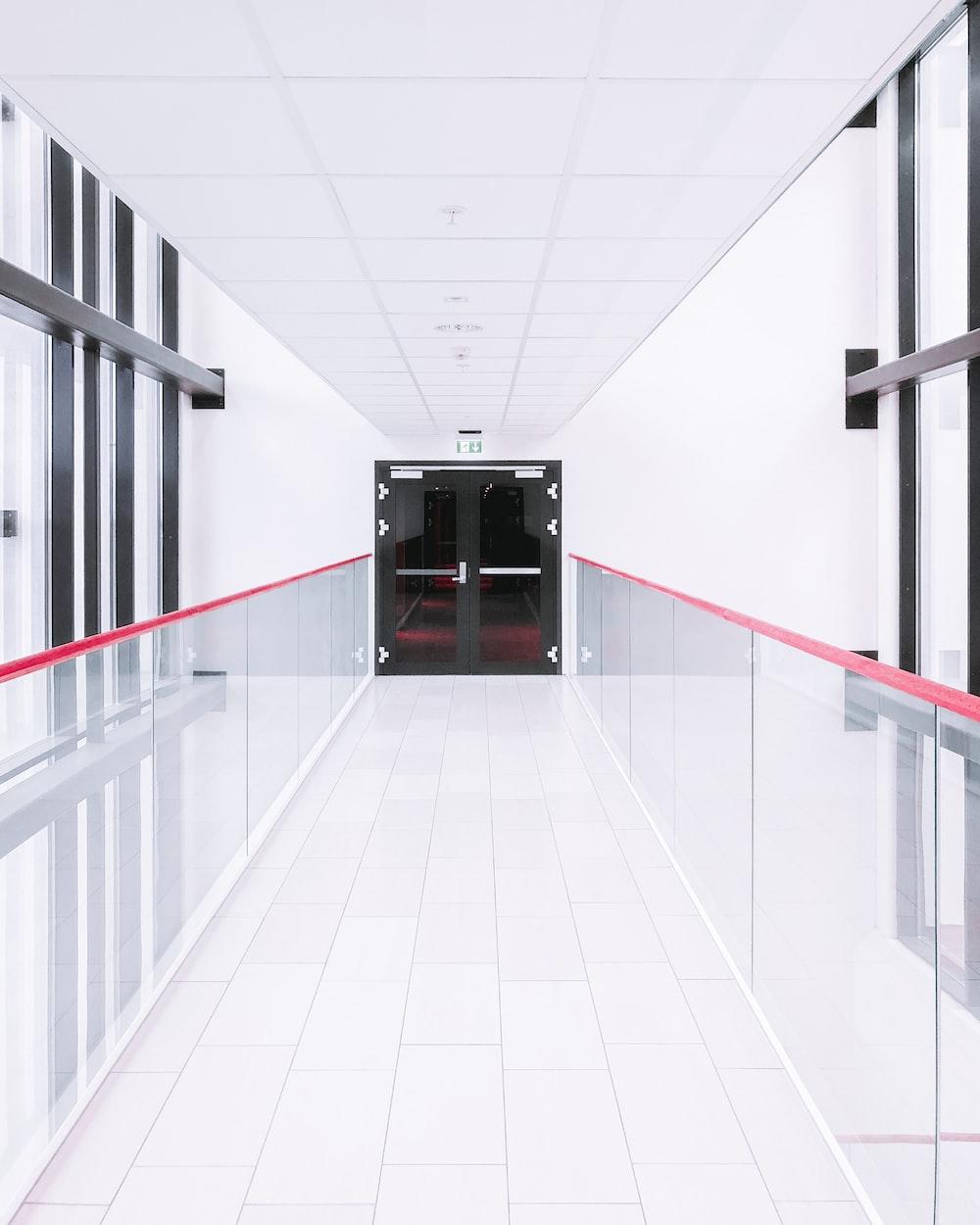 empty hallway in front of closed door
