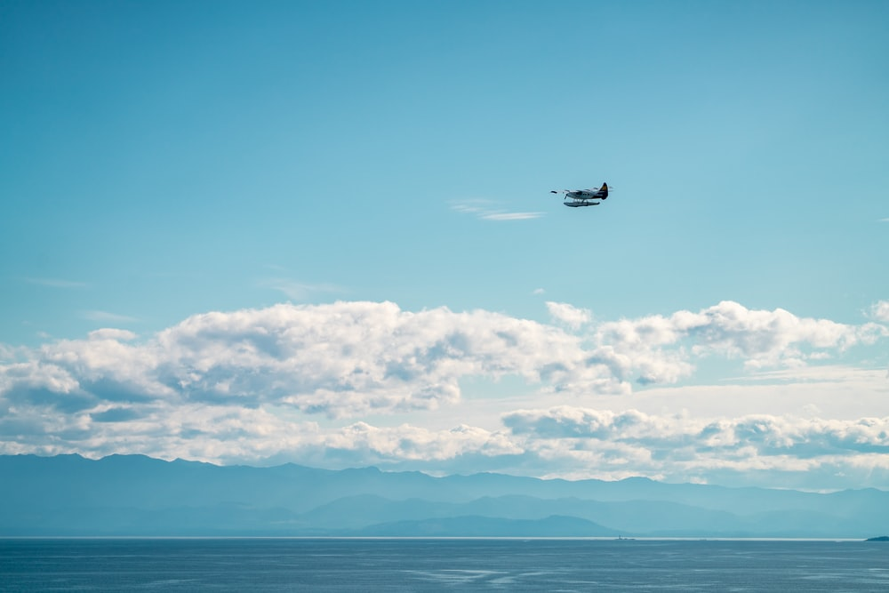 white and black airplane flying above sea during daytime