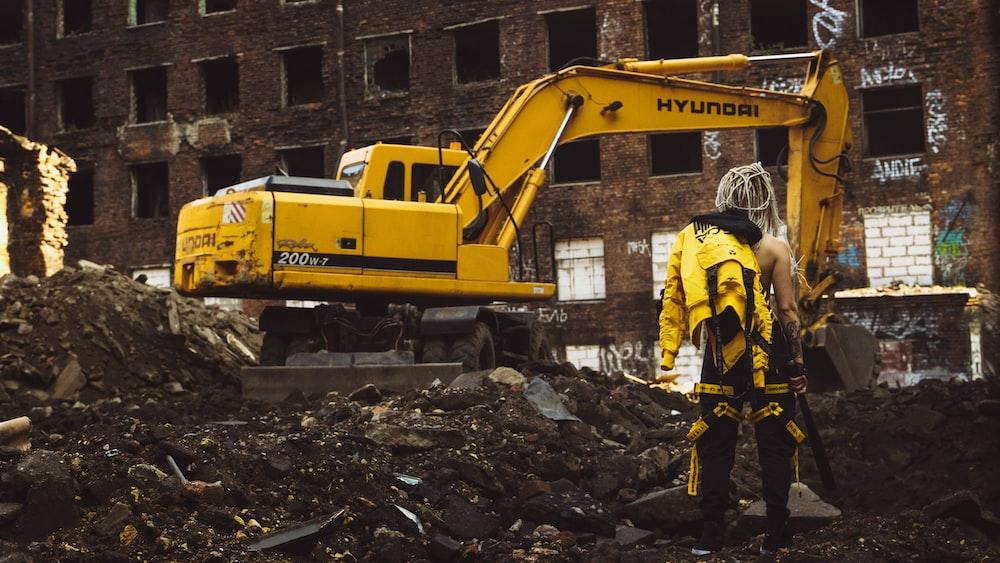 yellow Hyundai front loader