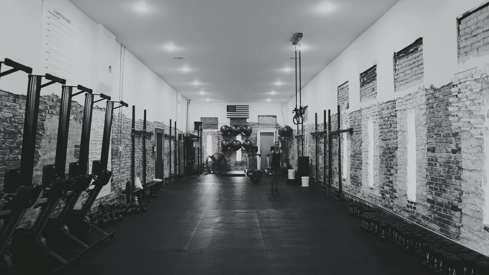 grayscale photography of inside building