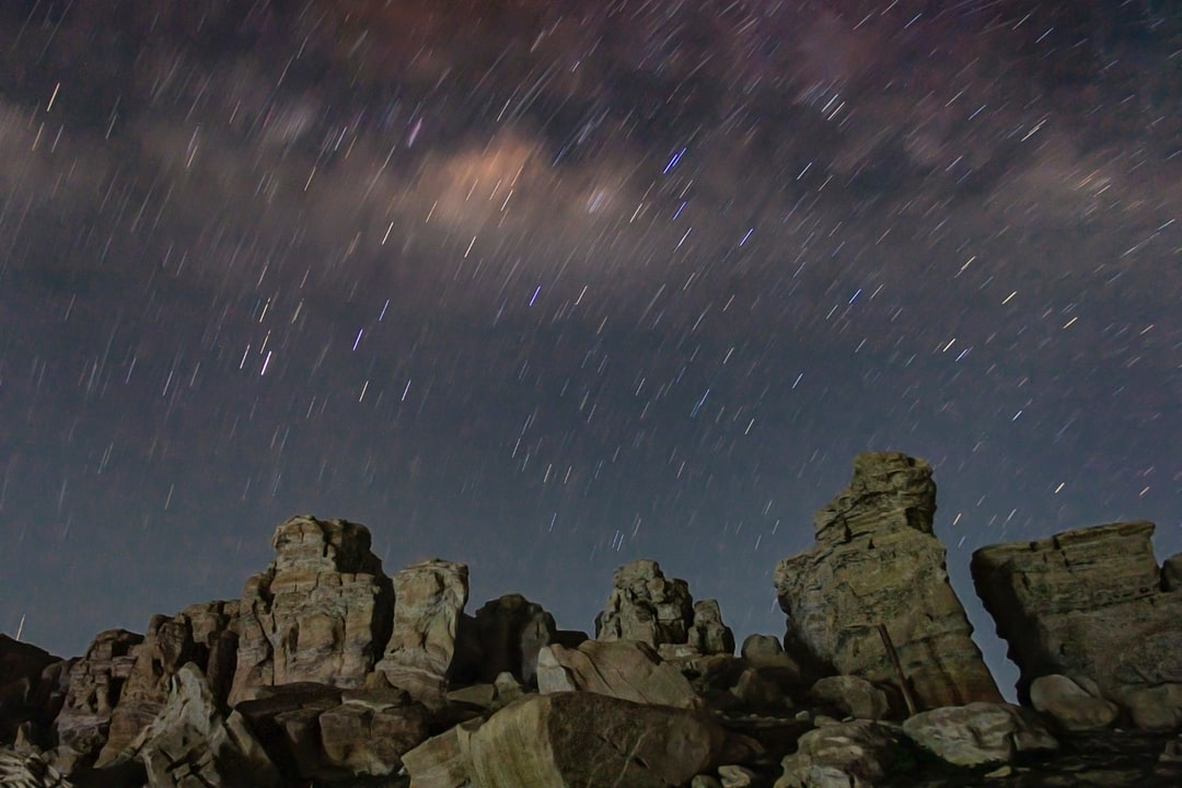 Display of the Star trails and Milky Way Galaxy that appears above rocks pile. Long exposure photography
