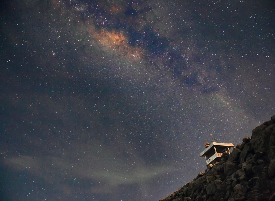 Milky Way Galaxy appear above the building. Long exposure photography