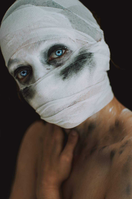 woman wearing white bandage