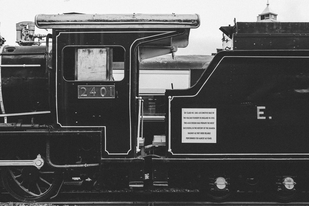 grayscale photo of charcoal train