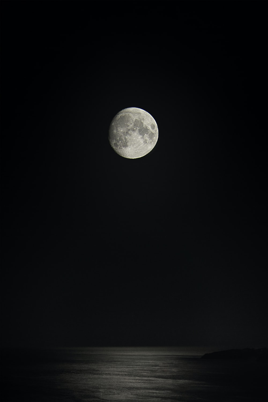 gray full moon over the sea