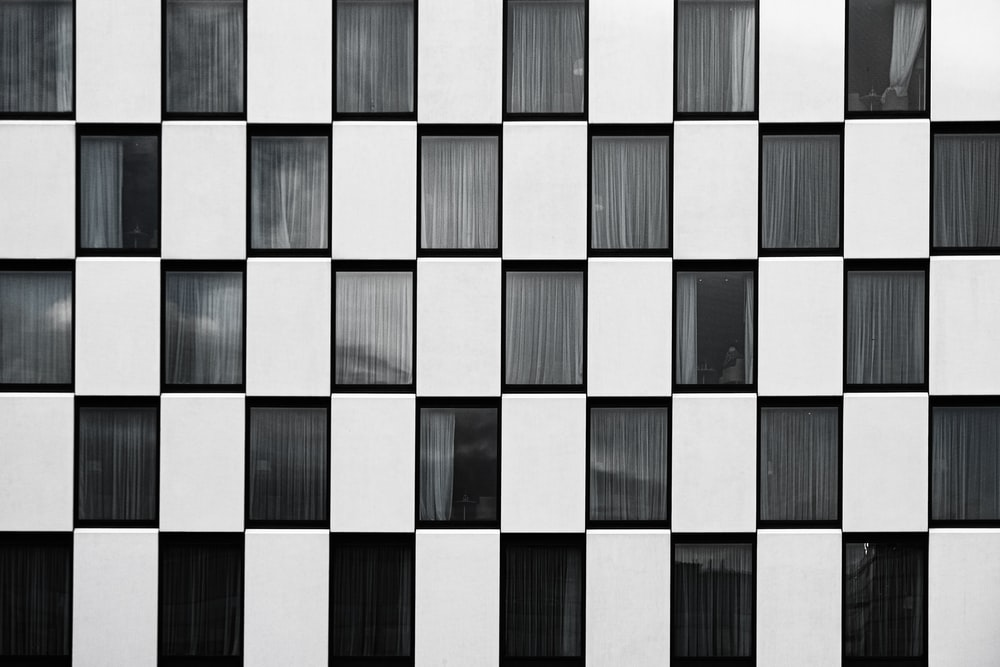 black and white checked surface
