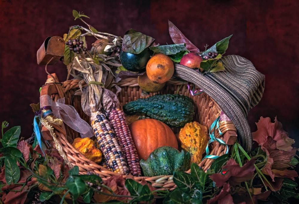 vegetable in wicker basket