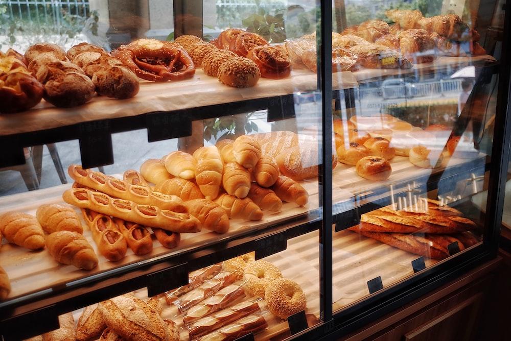 breads in display shelf