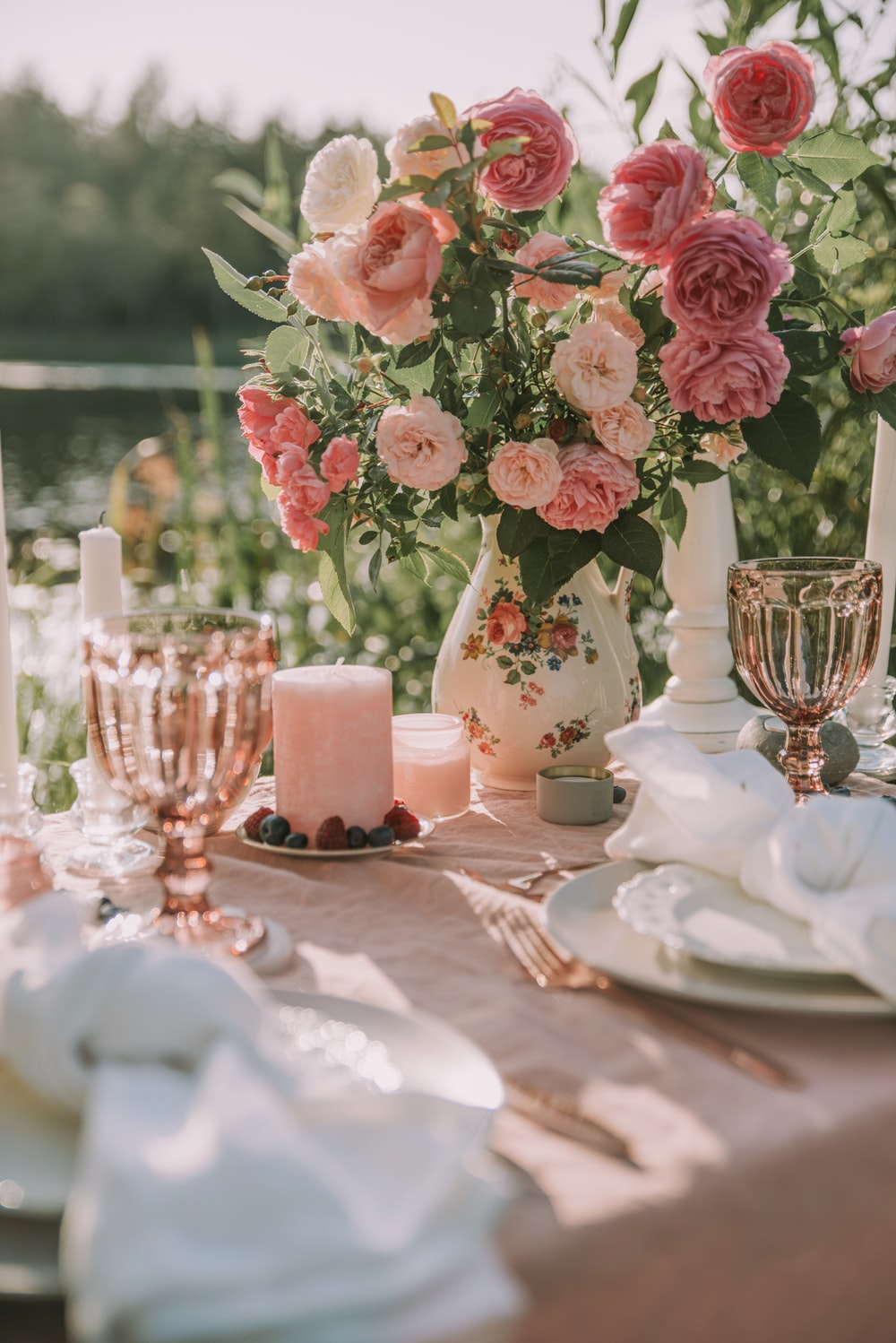 pink flower bouquet on table