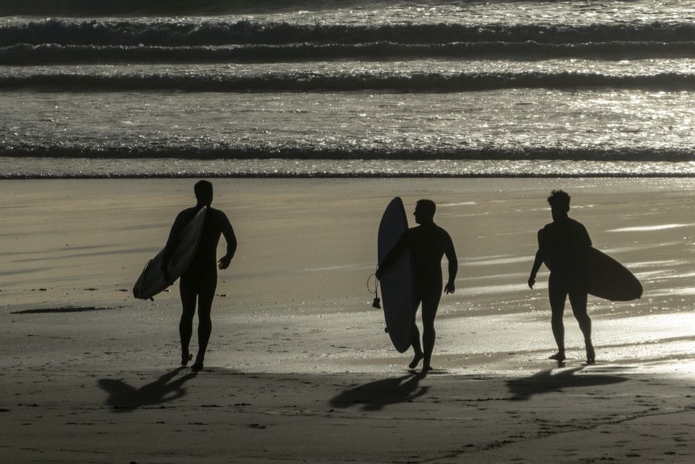 three person carrying surfboards