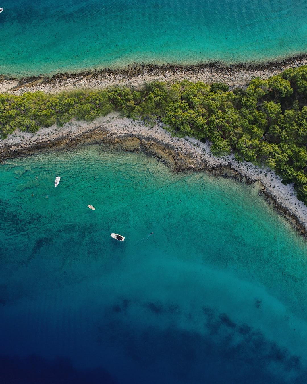 Top down shot of a peninsula on the Mala Krbela island in Croatia