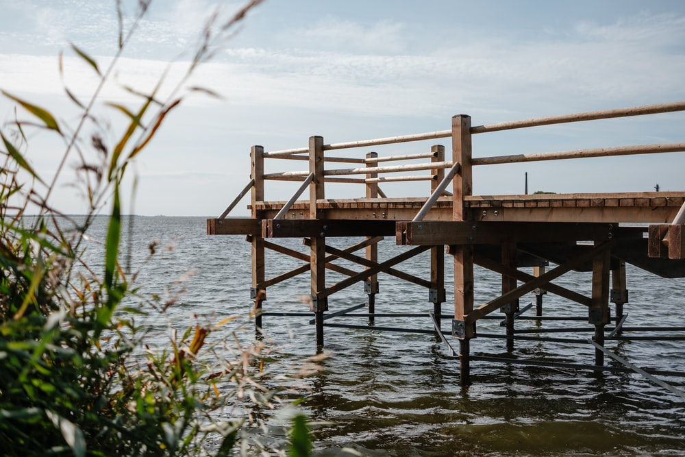 brown wooden dock on calm body of water during daytime