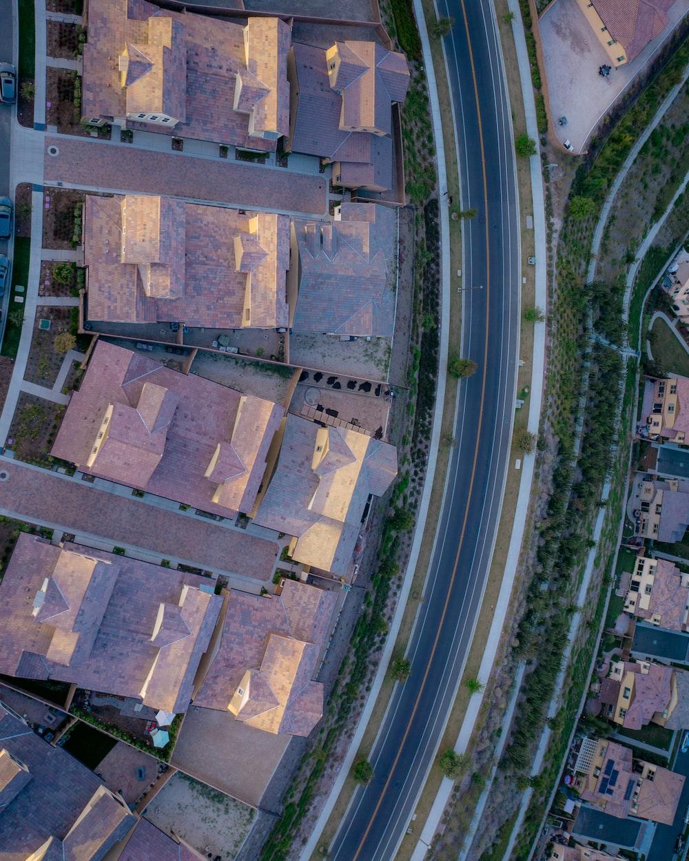 aerial view of highway between village