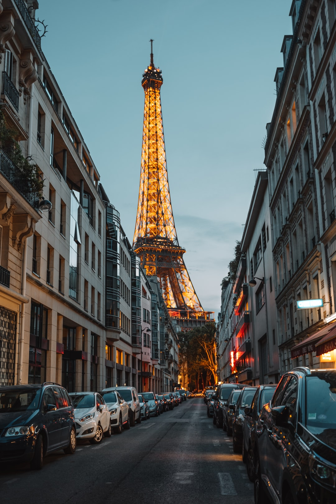 Eiffel Tower in the city of Paris, France