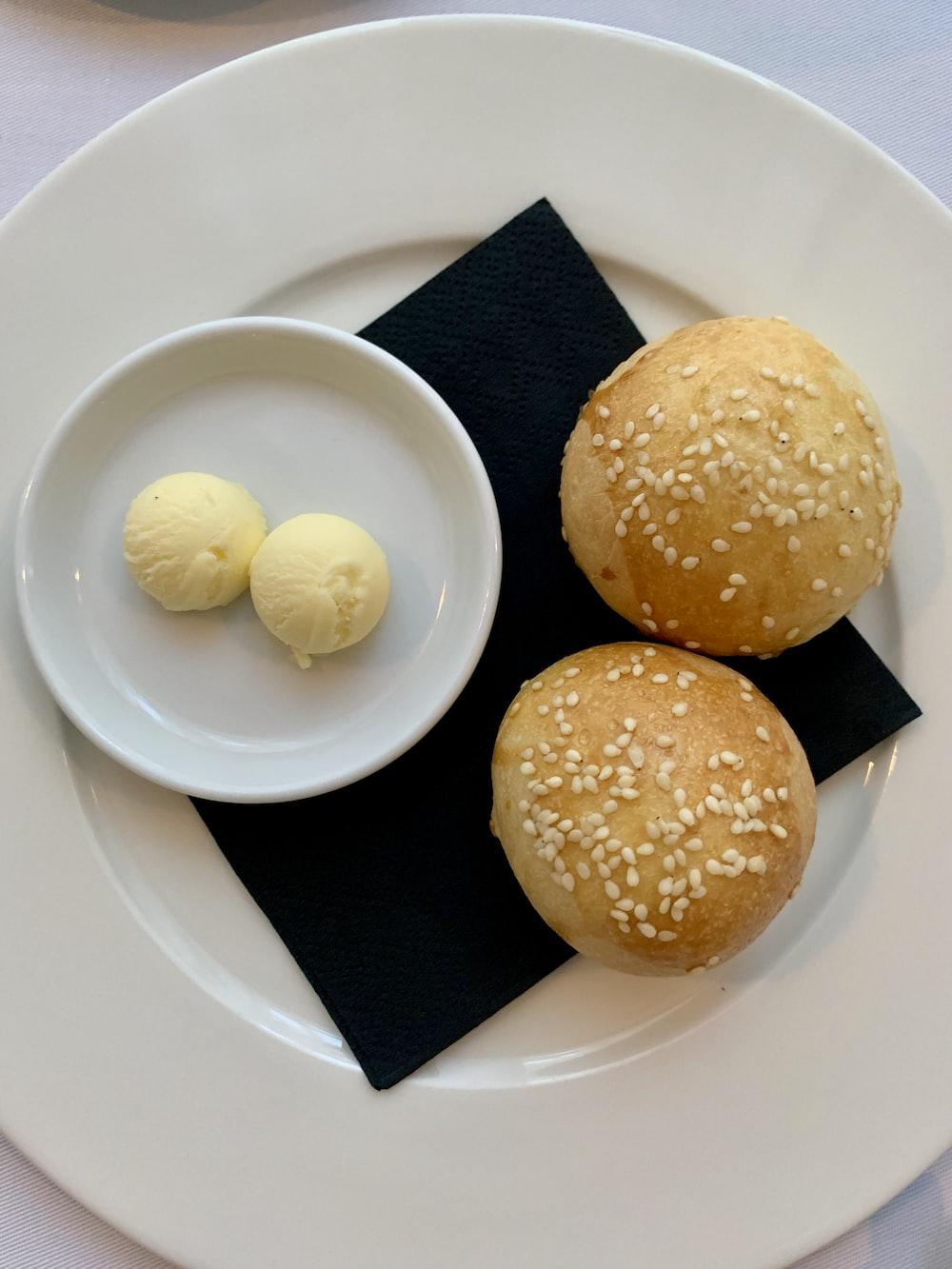 baked bread on white plat