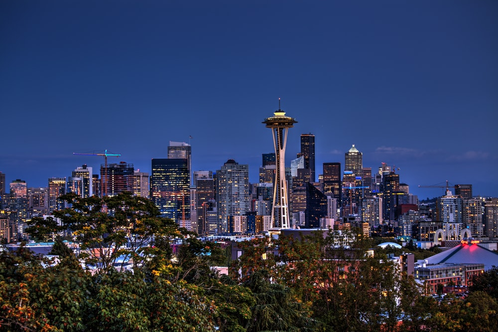 aerial photography of Space Needle