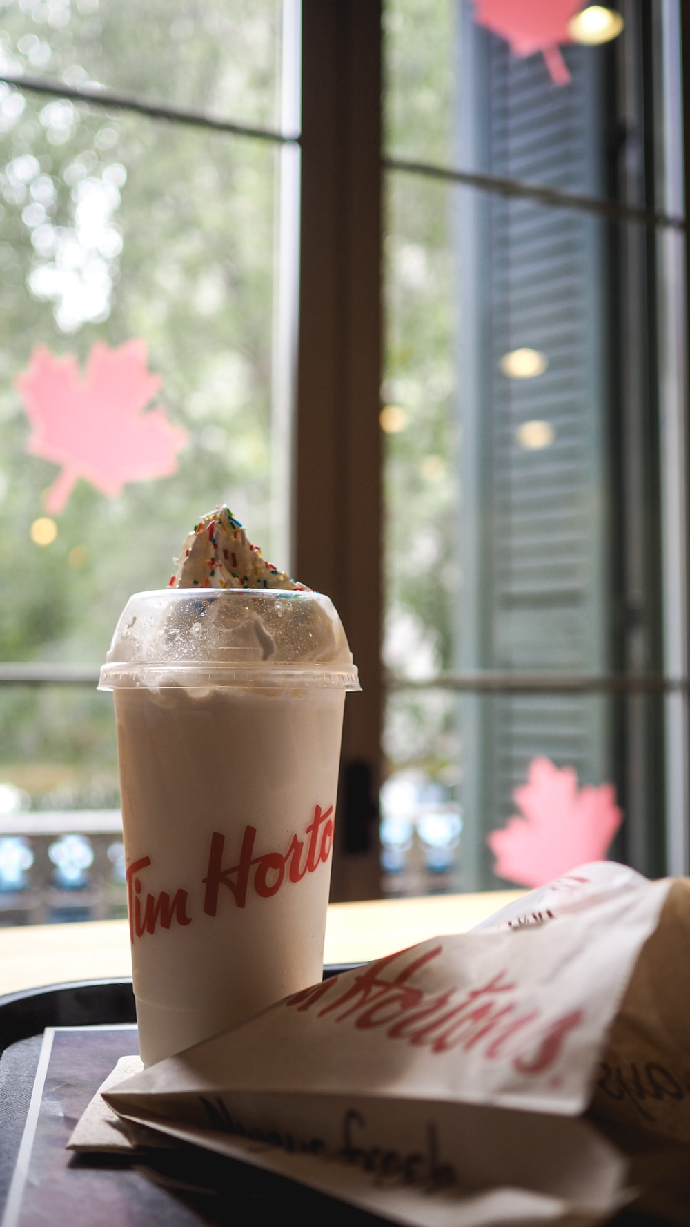 white Tim Horte plastuc cup