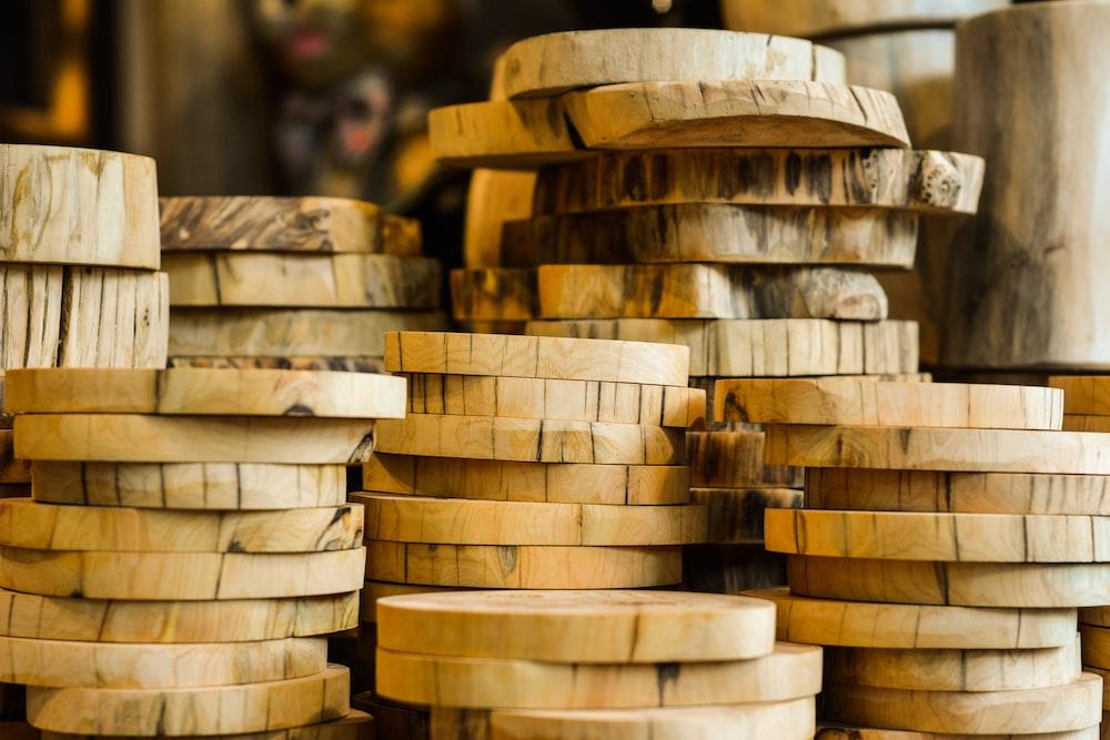brown wooden slab lot