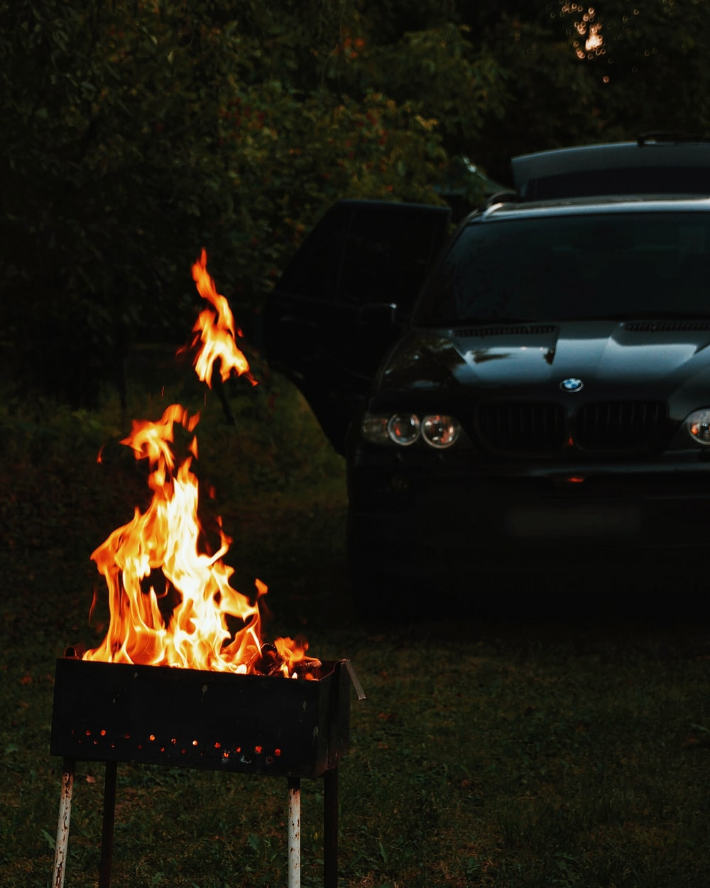 vehicle near grill