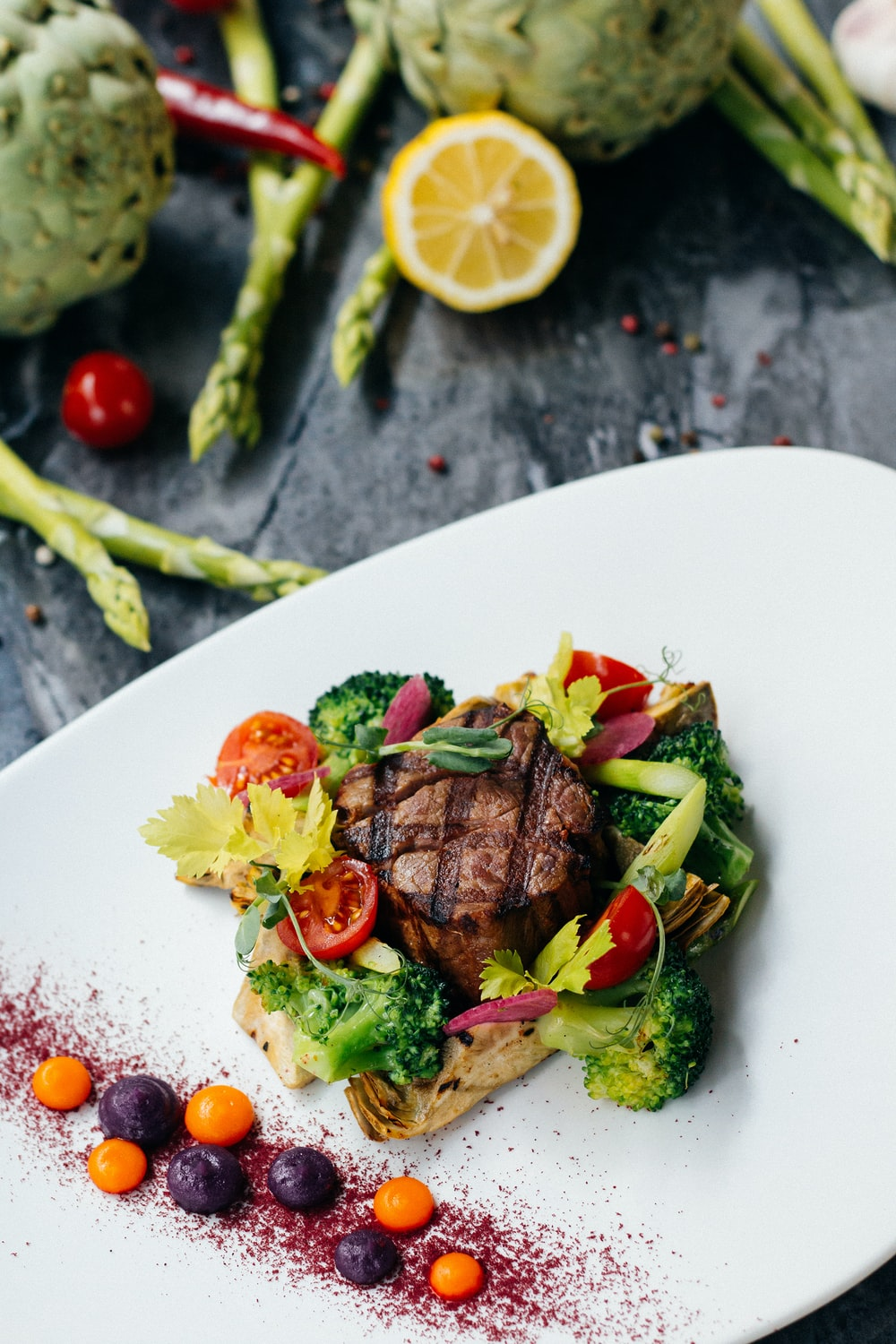 meat and vegetable on plate