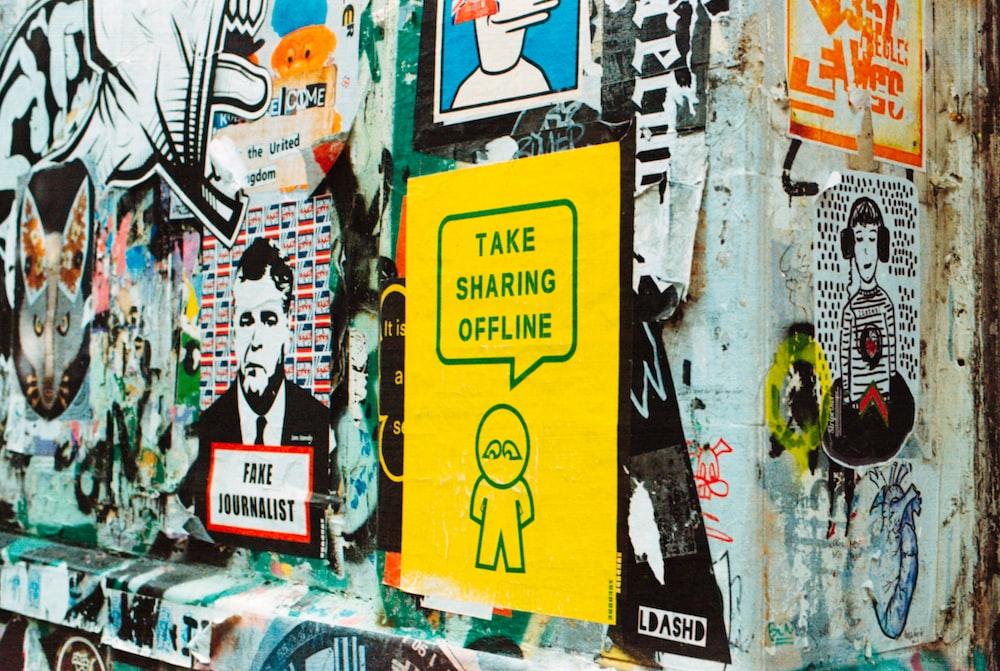 take sharing offline sticker on wall