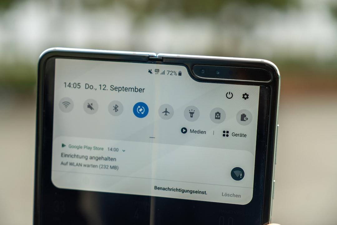 Samsung Galaxy Fold with 5G logo.
