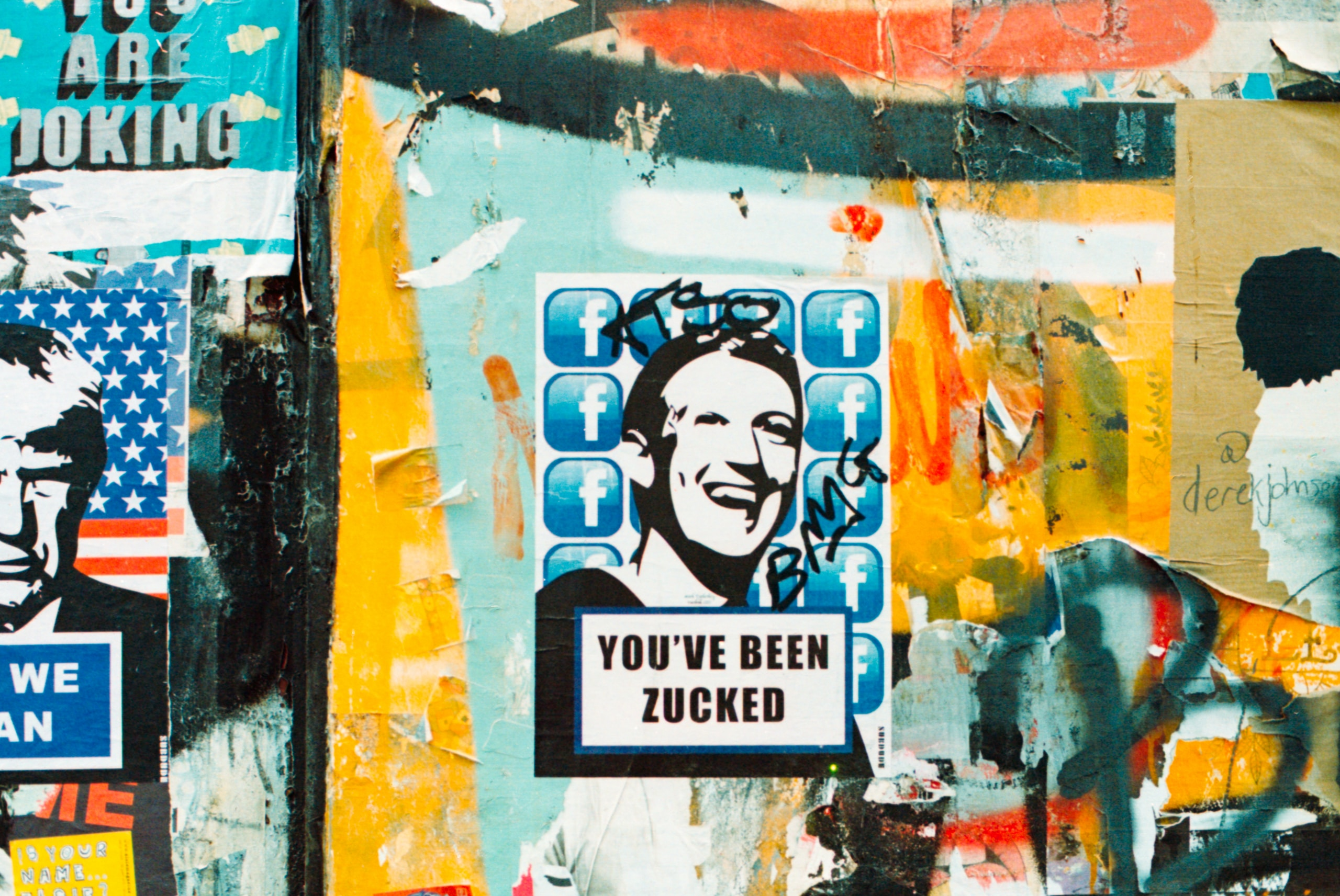 You've been zucked.London Street art Shoreditch.Shot on film, Kodak Portra 800, Nikon FM2n