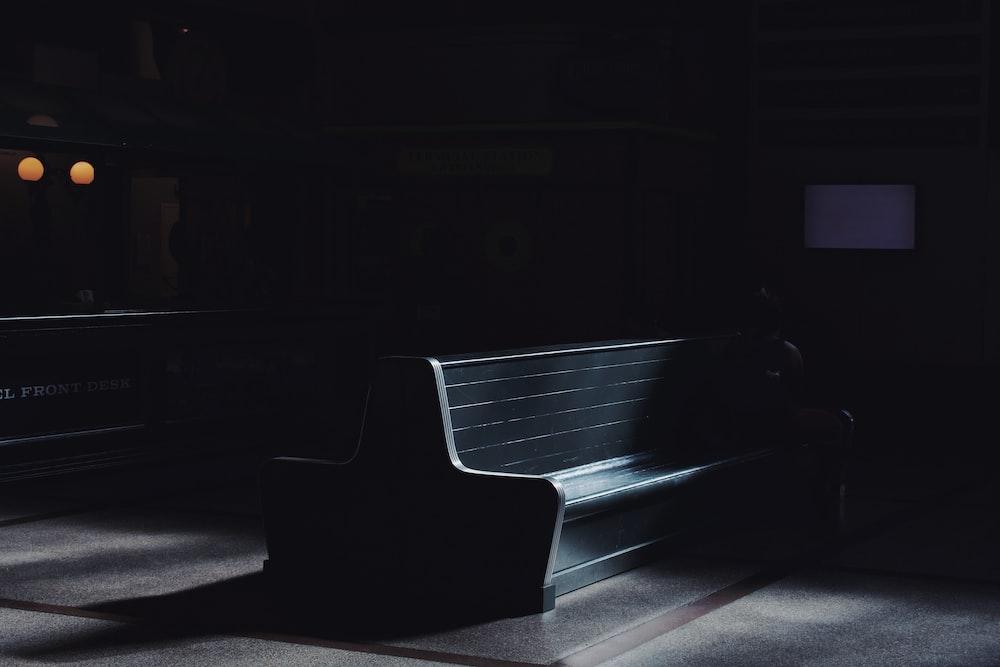 black wooden church pew