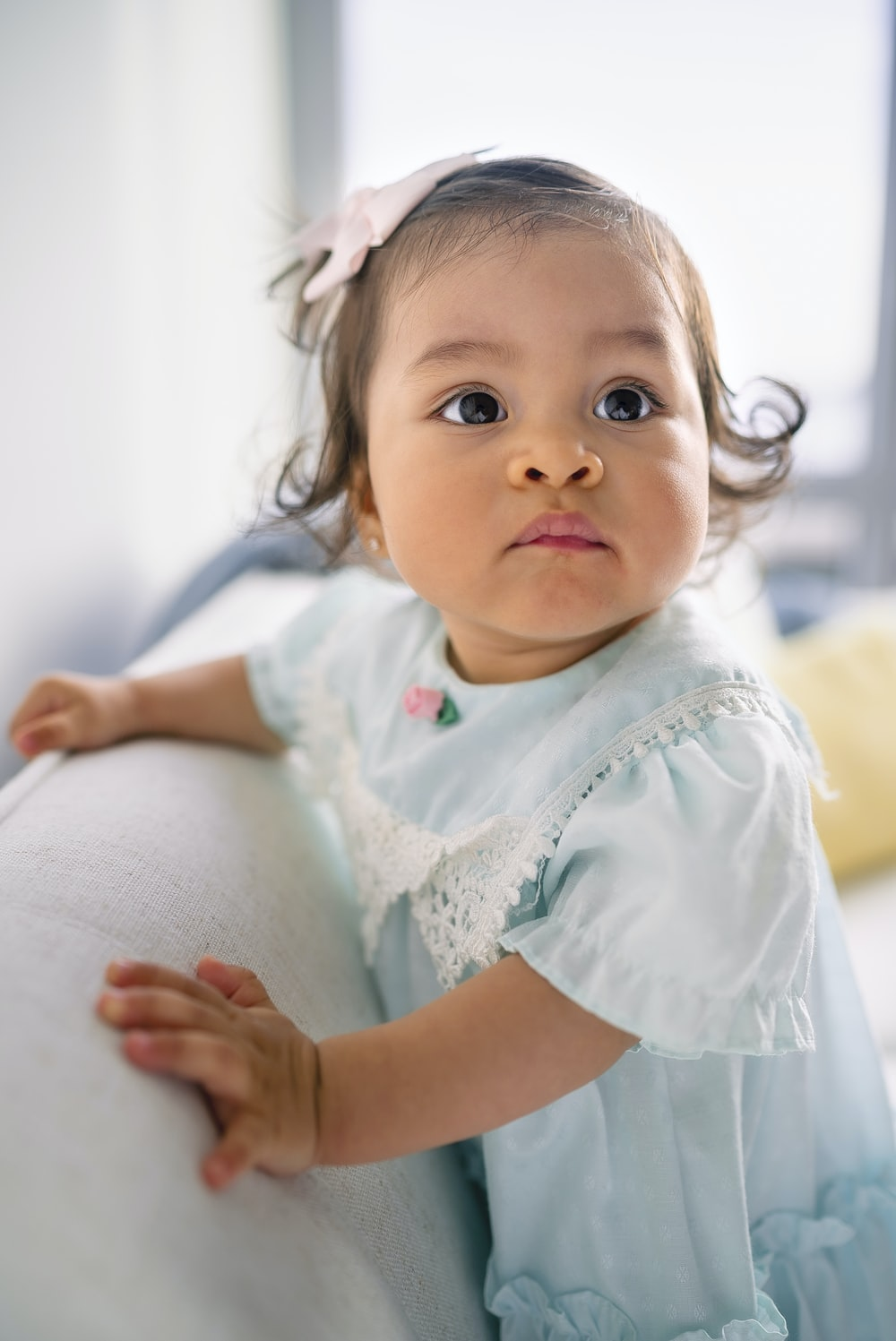 baby's blue and pink crew-neck dress