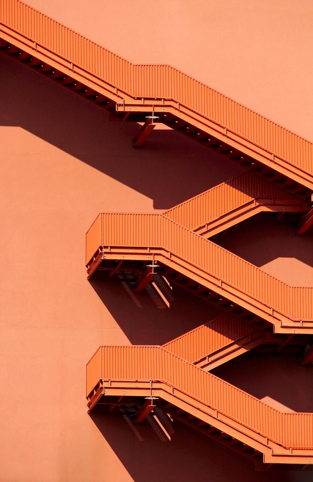 brown metal framed stairs
