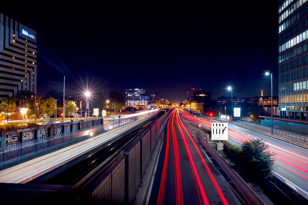 long-exposure photography of road