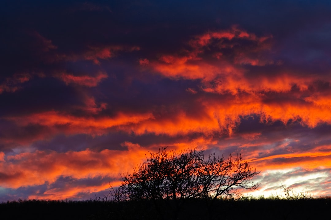 Burning red and blue sky