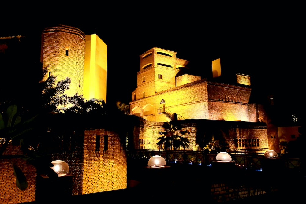 yellow castle during night time