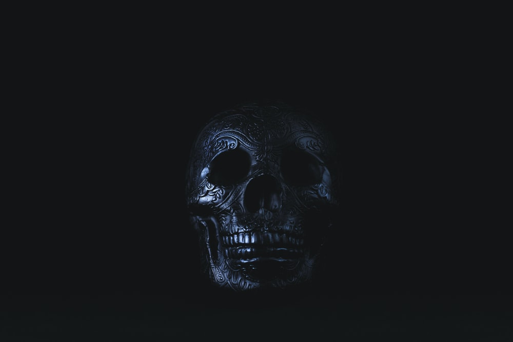 silver-colored skull accessory on black surface
