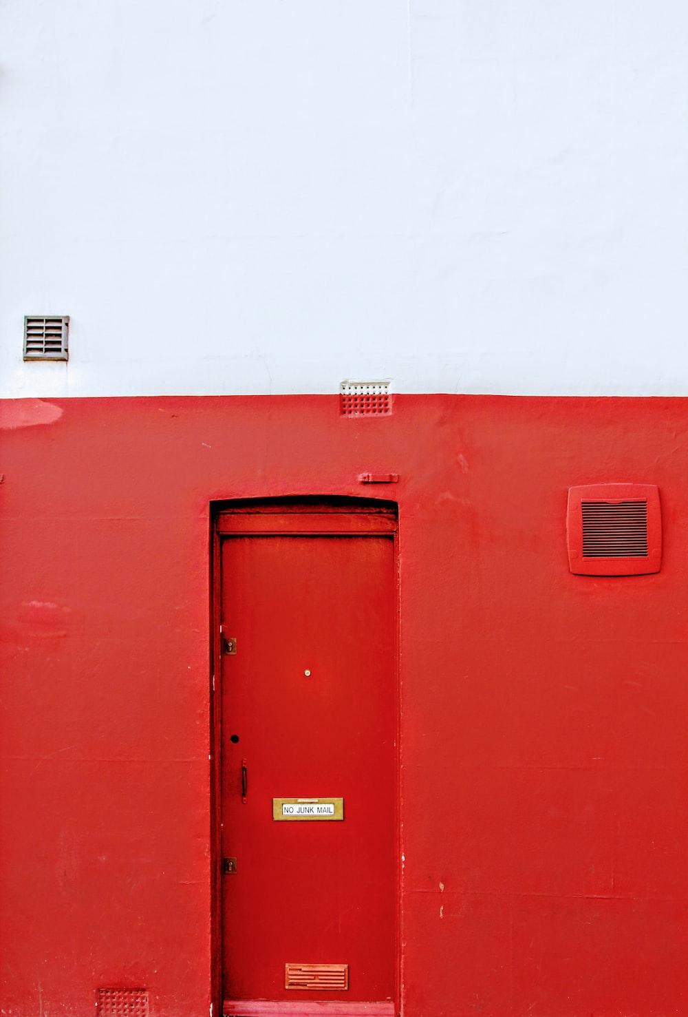 red metal plush door