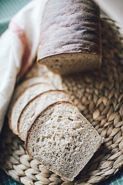 sliced bread on brown panel