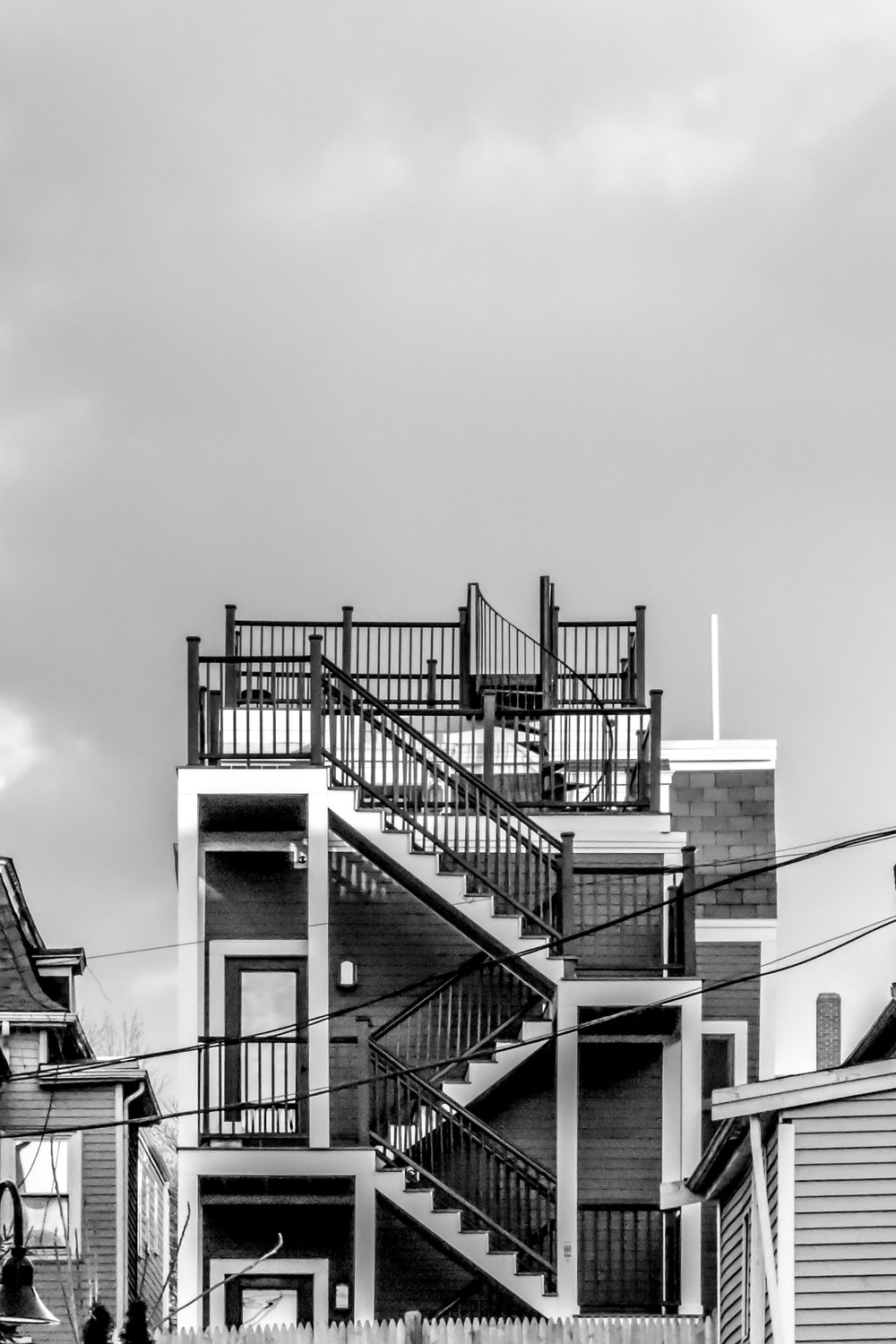 grayscale photography of concrete building