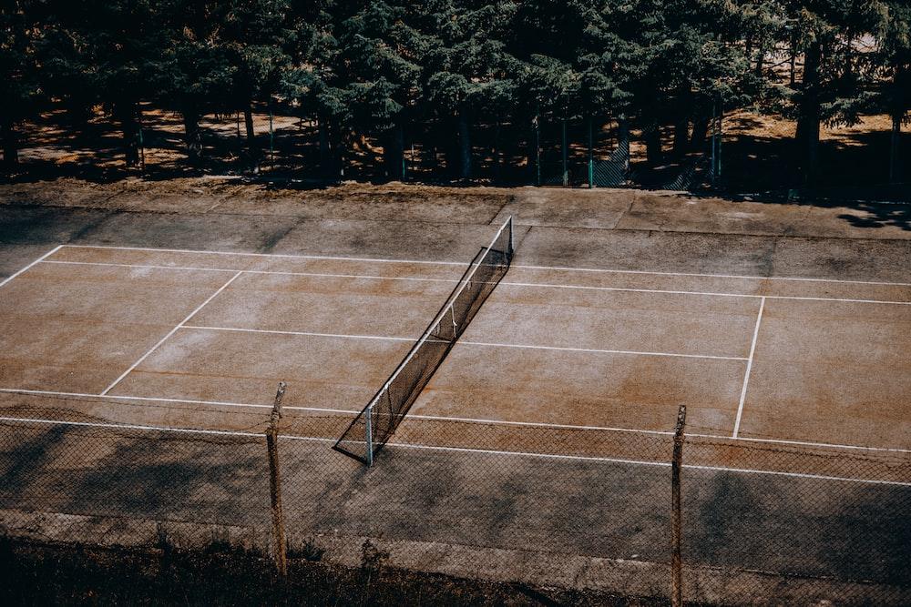 tennis court near trees