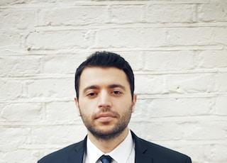 men's black suit jacket