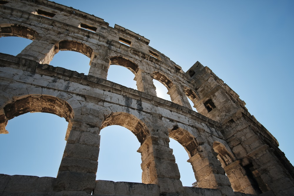 macro photography of Colosseum in Rome, Italy