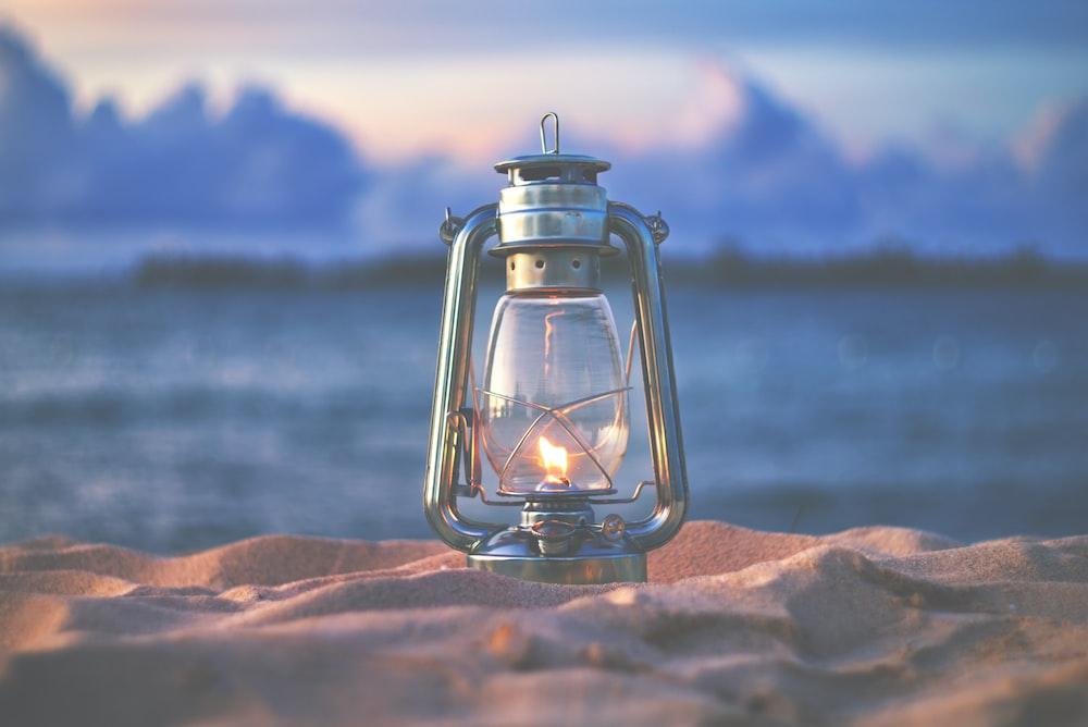 lantern on seashore