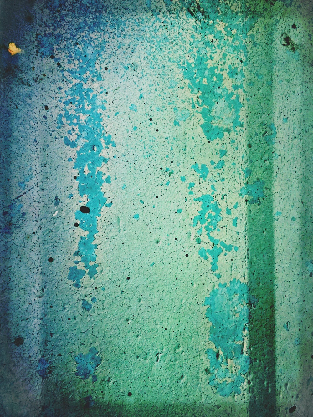 green and blue painted wall
