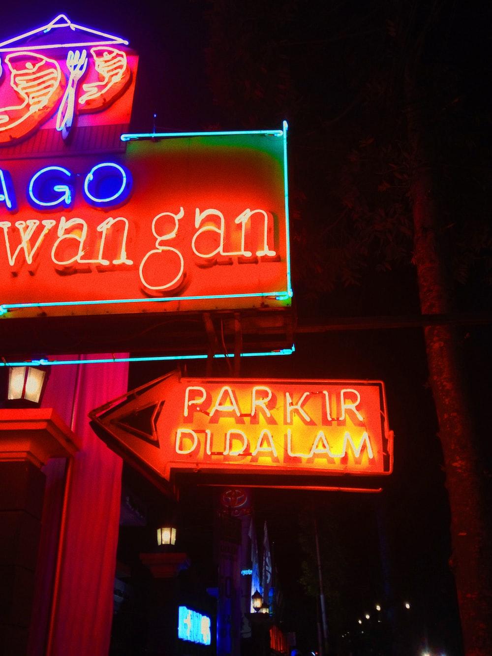 Parkir Di Dalam neon signage