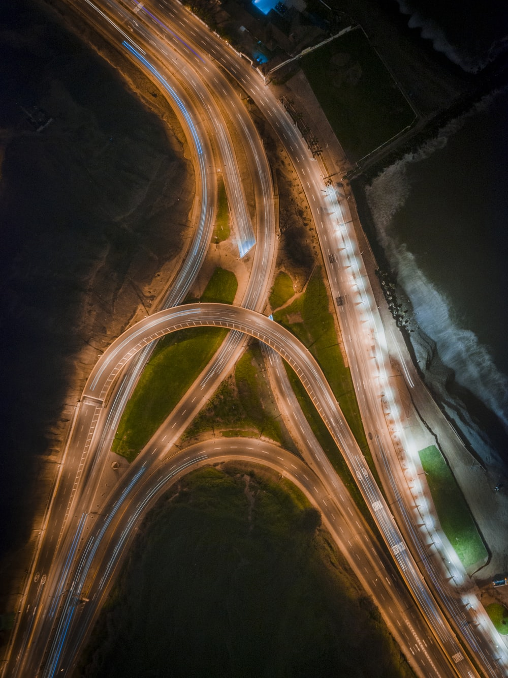 bird's-eye view of highways