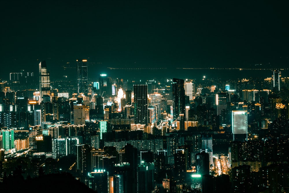 lighted high-rise buildings
