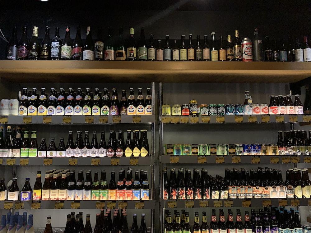 assorted liquor bottles