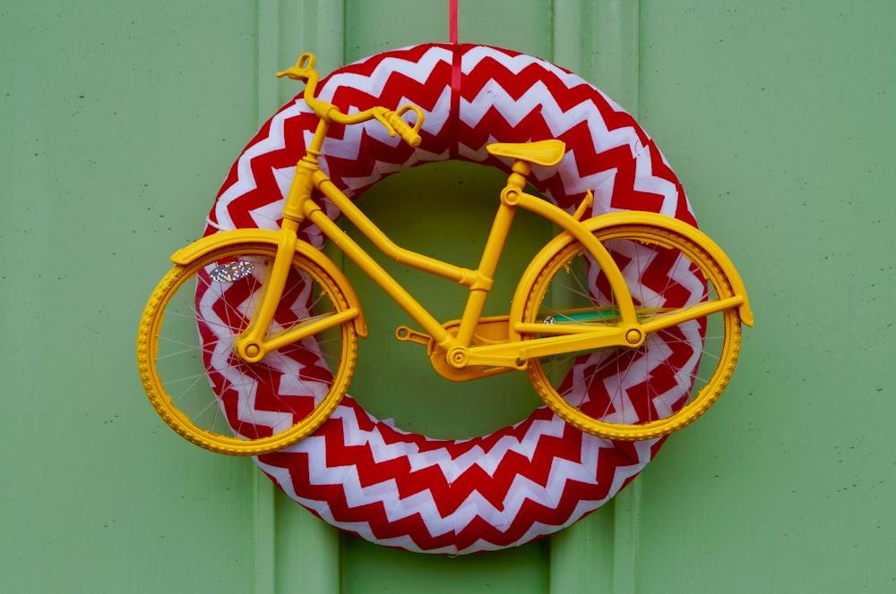 yellow bicycle miniature